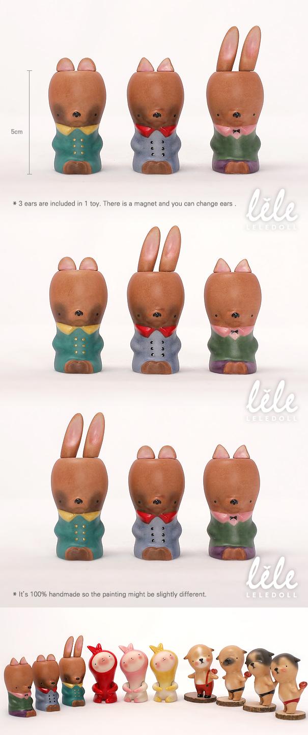 arttoy bisque toy moya leledoll rabbit bear cat